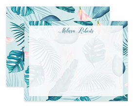 Teal & Pink Tropical Leaves Personalized Note Cards Stationery
