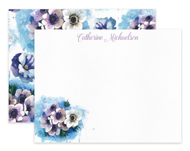 Blue & Lavender Anemone Flower Personalized Note Cards Stationery