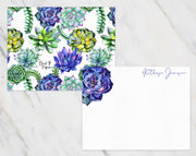 Purple and Green Succulents Personalized Note Cards Stationery