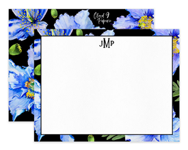 Blue & Black Poppies Flower Floral Personalized Note Cards Stationery
