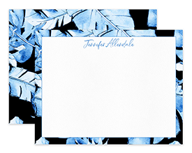 Blue Hawaii Tropical Leaves Personalized Note Cards Stationery