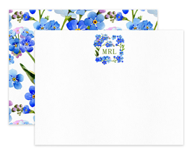 Blue Wildflowers Square Wreath Monogram Personalized Note Cards Stationery