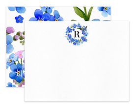 Blue Wildflowers Monogram Wreath Personalized Note Cards Stationery