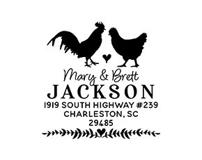 Chickens Animal Couple Wedding Custom Address Stamp