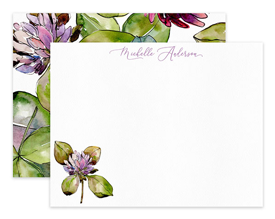 Clover Flower Floral Personalized Note Cards Stationery