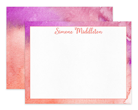 Coral & Magenta Abstract Watercolor Personalized Note Cards Stationery