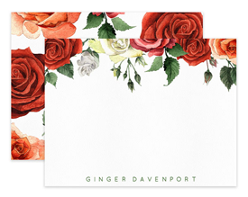 Coral & Red Roses Border Floral Personalized Note Cards Stationery