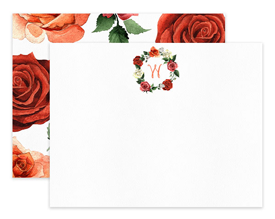 Coral & Red Roses Wreath Floral Personalized Note Cards Stationery