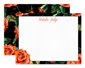 Black Coral Roses Floral Border Personalized Note Cards Stationery