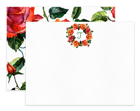 Coral Roses Monogram Wreath Personalized Note Cards Stationery