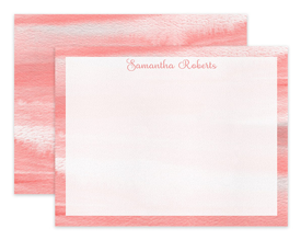 Coral Watercolor Personalized Note Cards Stationery