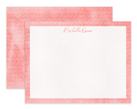 Coral Watercolor Pattern Personalized Note Cards Stationery