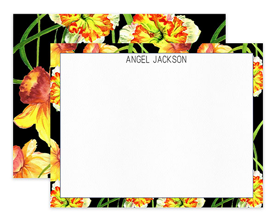 Black Daffodils Floral Flower Personalized Note Cards Stationery