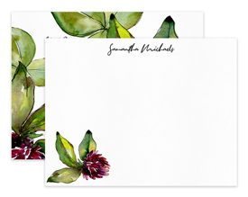 Burgundy Clover Flower Floral Personalized Note Cards Stationery