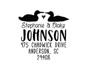 Duck Animal Couple Wedding Custom Address Stamp