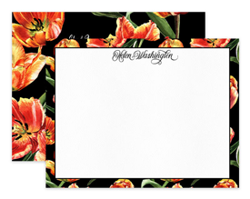 Fire Tulip Black Flower Floral Personalized Note Cards Stationery