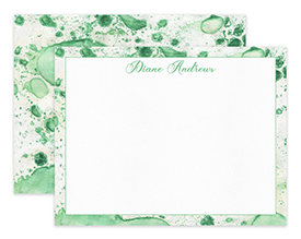 Green Abstract Watercolor Personalized Note Cards Stationery