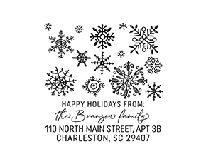 Hand-drawn Snowflake Christmas Holiday Custom Address Stamp