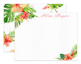 Hibiscus Tropical Watercolor Personalized Note Cards Stationery