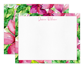 Hot Pink Hibiscus Flowers Personalized Note Cards Stationery