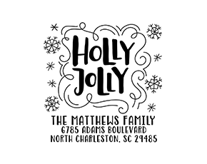Holly Jolly Snowflake Holiday Custom Address Stamp