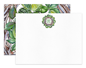 Leafy Wreath Leaves Personalized Note Cards Stationery