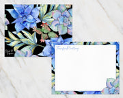 Light Blue Succulents on Black Personalized Note Cards Stationery