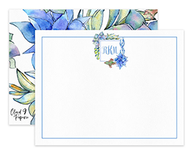 Light Blue Succulents Monogram Personalized Note Cards Stationery