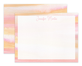 Blush Pink & Yellow Watercolor Personalized Note Cards Stationery