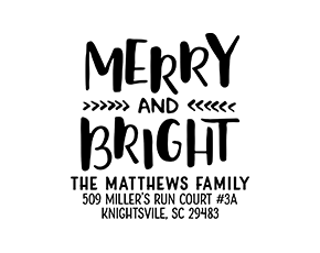 Merry and Bright Typography Holiday Custom Address Stamp