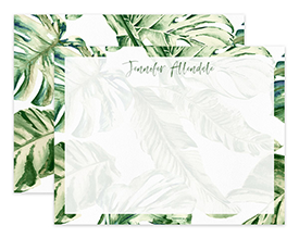 Vintage Green Tropical Leaves Personalized Note Cards Stationery