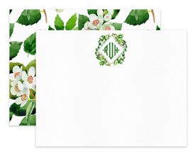 Orange Blossom Diamond Monogram Personalized Note Cards Stationery