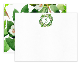 Orange Blossom Monogram  Wreath Personalized Note Cards Stationery