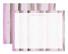 Dusty Pink Watercolor Stripes Personalized Note Cards Stationery