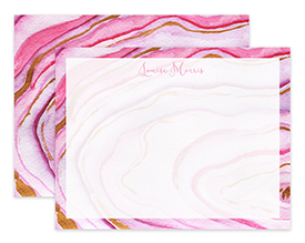 Pink Agate Watercolor Personalized Note Cards Stationery