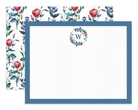Blue & Red Wildflower Wreath Floral Personalized Note Cards Stationery