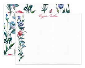 Blue & Red Wildflower Floral Personalized Note Cards Stationery