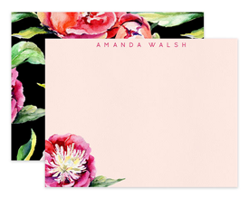 Pink & Coral Peony on Black Personalized Note Cards Stationery