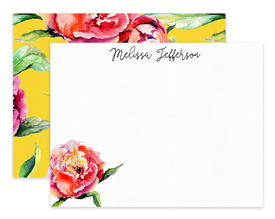 Pink & Coral Peony on Yellow Personalized Note Cards Stationery
