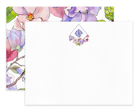 Pink & Purple Magnolia Monogram Personalized Note Cards Stationery