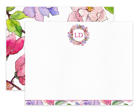 Pink & Purple Magnolia Floral Wreath Personalized Note Cards Stationery