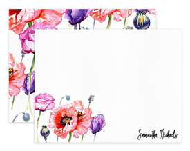 Pink Poppy Flower Floral Personalized Note Cards Stationery