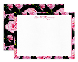 Black & Pink Roses Border Personalized Note Cards Stationery