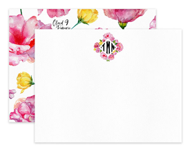 Pink Roses Diamond Monogram Personalized Note Cards Stationery