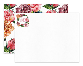 Dusty Pink Roses Floral Monogram Personalized Note Cards Stationery