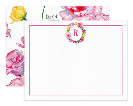 Pink Roses Monogram Wreath Personalized Note Cards Stationery