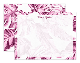 Vintage Pink Tropical Leaves Personalized Note Cards Stationery