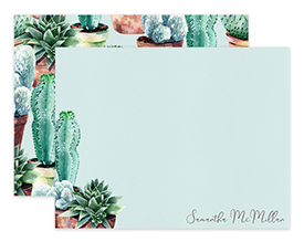 Garden Potted Cactus Watercolor Personalized Note Cards Stationery