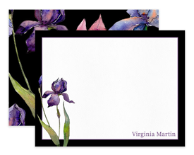 Black Purple & Magenta Iris Floral Personalized Note Cards Stationery