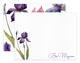 Purple & Magenta Iris Floral Personalized Note Cards Stationery